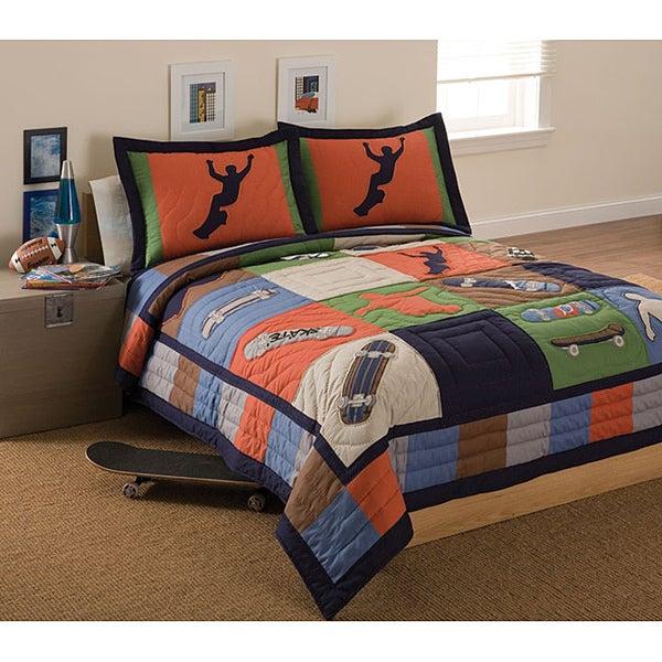 Cool Skate Applique 3-piece Quilt Set