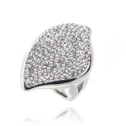 Icz Stonez Sterling Silver Clear Crystal Abstract Ring