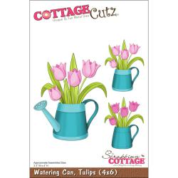 "CottageCutz Die 4""X6""-Watering Can With Tulips"
