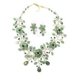 Handmade Thai Jade/Adventurine/Freshwater-pearl Floral Jewelry Set