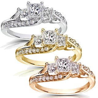 Annello 14k Gold 1ct TDW Diamond Engagement Ring (H-I, I1-I2) with Bonus Item