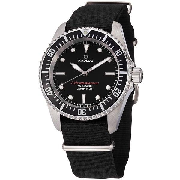 Kadloo Men's 'Scubmarine' Black Dial Fabric Strap Automatic Watch