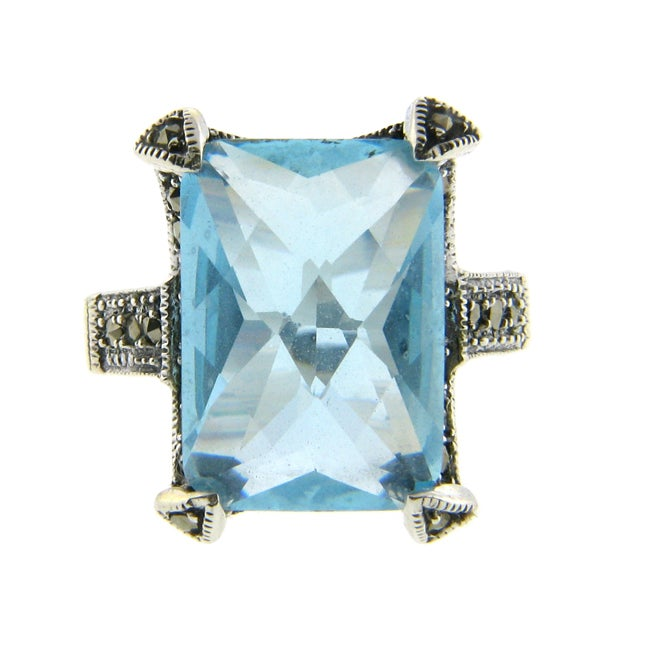 Dolce Giavonna Silverplated Blue Glass and Marcasite Rectangle Ring