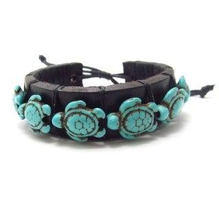 Swimming Turtles Turquoise Stones Leather Bracelet (Thailand)