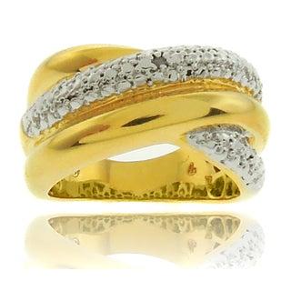 Finesque 18k Gold Overlay Diamond Accent Criss Cross Ring (I-J, I2-I3)