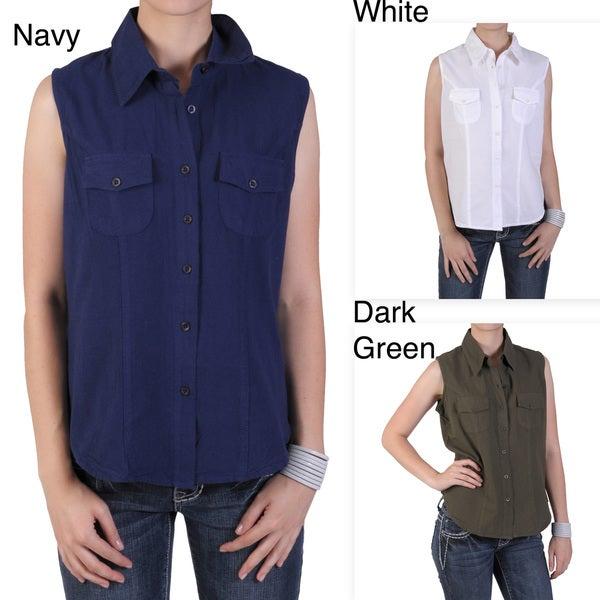 Tressa Designs Women's Button-up Pointed Collar Top