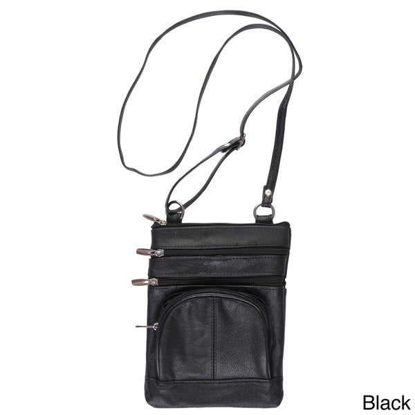 Journee Collection Women's Genuine Leather Crossbody Bag
