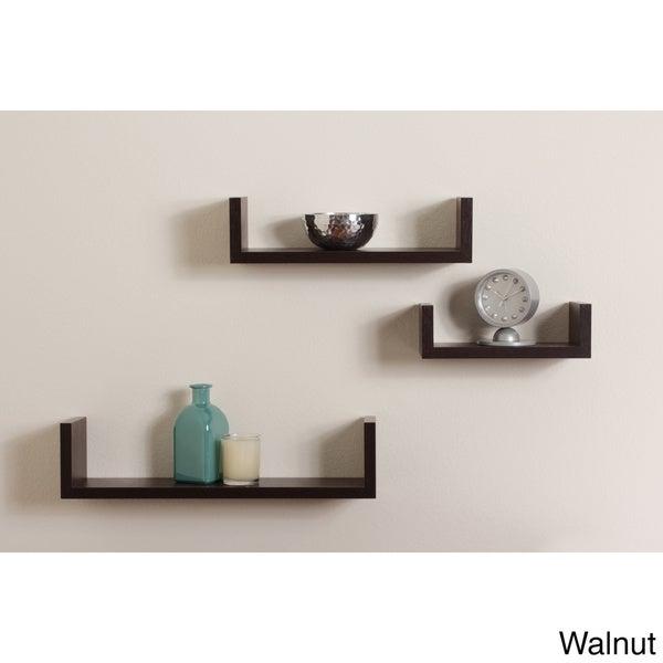 Floating 'U' Walnut Finish Shelves (Set of 3)