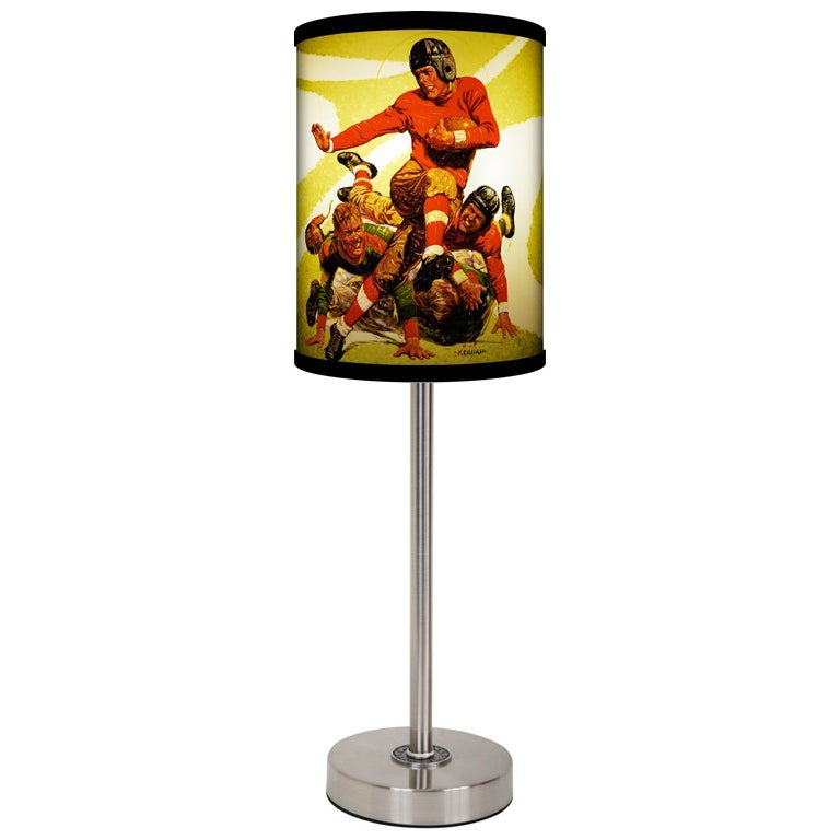 Lamp-In-A-Box Saturday Eve Post Football Brushed Nickel Table Lamp