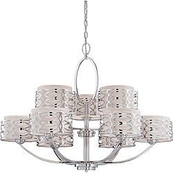 Harlow - 9 Light Chandelier - Polished Nickel Finish with Slate Gray Fabric Shade