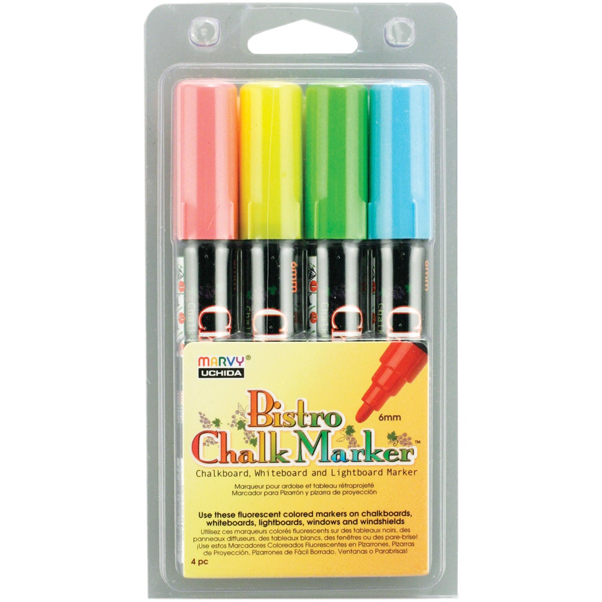 Bistro Chalk Marker Set 4/Pkg-Fluorescent Blue/Red/Green/Yellow