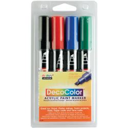 Deco Color Acrylic Set 4/Pkg-Black/Red/Blue/Green