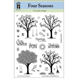 """Hot Off The Press Acrylic Stamps 6""""X8"""" Sheet-Four Seasons Trees"""