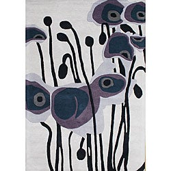 Hand Made Tufted Pencil Grey Flower New Zealand Wool Rug (9' x 12')