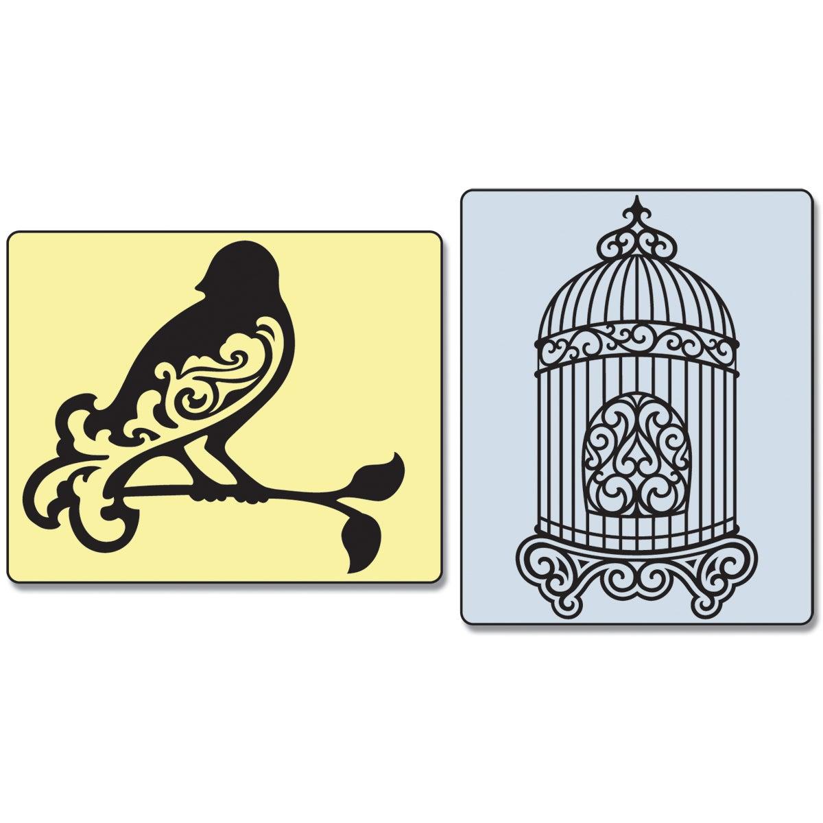 Sizzix Textured Impressions Embossing Folders 2/Pkg-Bird & Birdcage