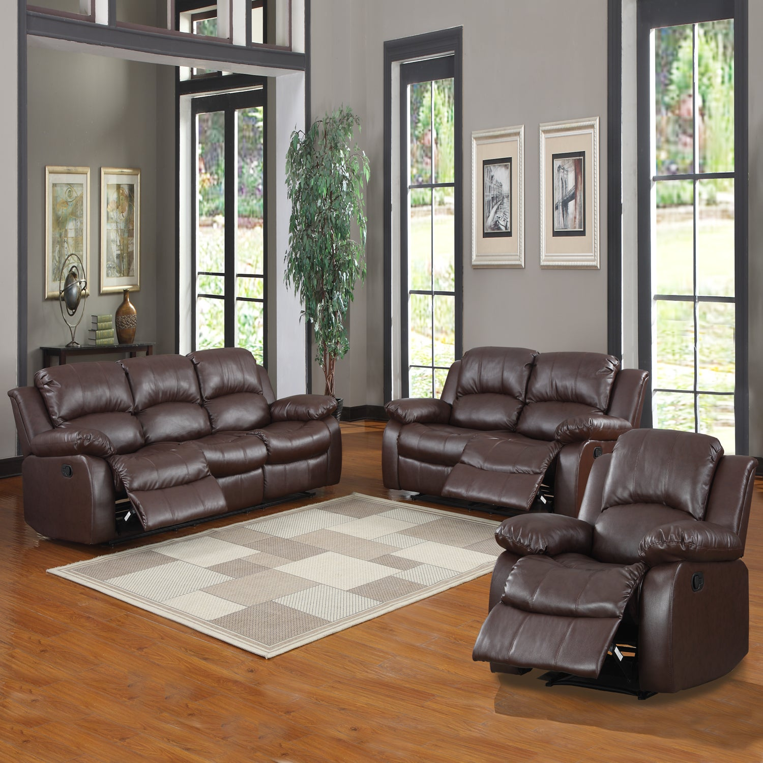 Tribecca Home Coleford 3 Piece Tufted Transitional Reclining Living Room Set Overstock