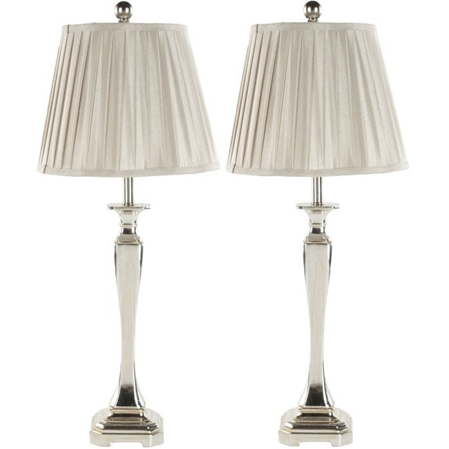 Safavieh Indoor Chatham Champagne Silk 1-light Table Lamps (Set of 2)