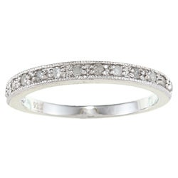 Sterling Silver 1/4ct TDW Diamond Milligrain Band