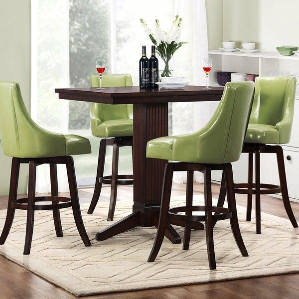 Tribecca Home Vella Green Swivel Upholstered 5-Piece Pub-height Set