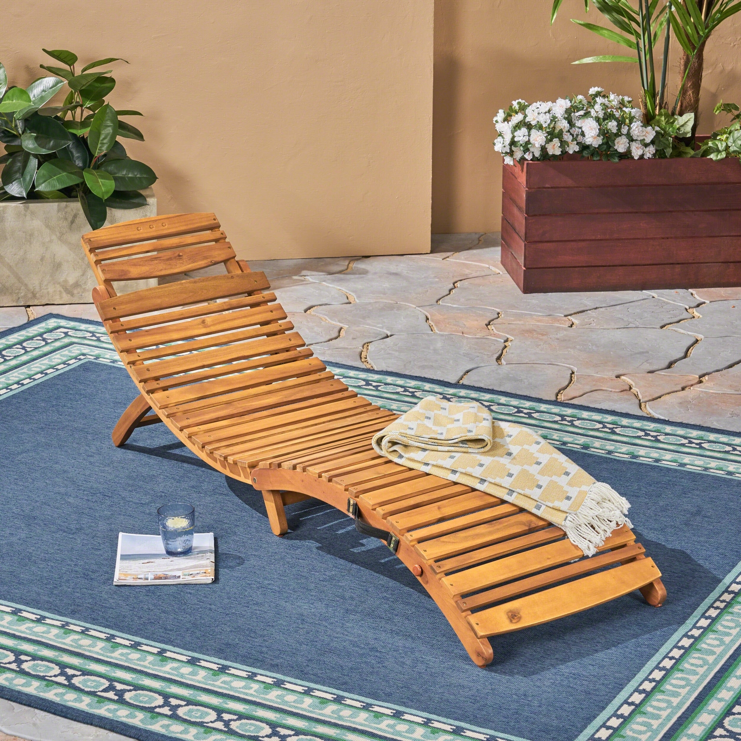 Overstock.com Christopher Knight Home Lahaina Wood Outdoor Chaise Lounge at Sears.com