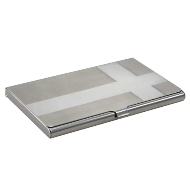 Zodaca Brushed-silver Business Card Holder Phone Case Cover with Chrome Cross