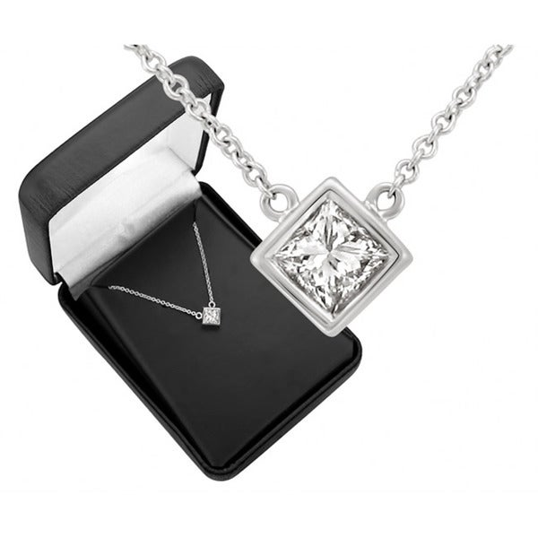 14k White Gold 1/2ct TDW Diamond Solitaire Necklace (G-H, SI1-SI2)