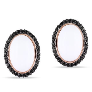 Miadora Pink Rhodium Plated Silver Synthetic White Agate and Black Cubic Zirconia Earrings