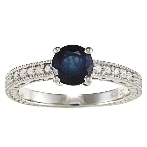 Viducci Sterling Silver Sapphire and 1/5ct TDW Diamond Ring (G-H, I1-I2)