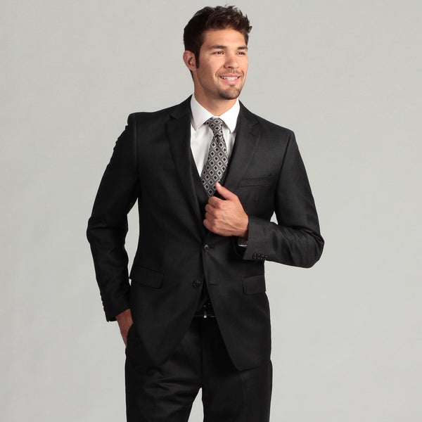 Calvin Klein Men's Charcoal 2-button Wool/Cashmere Blend Suit