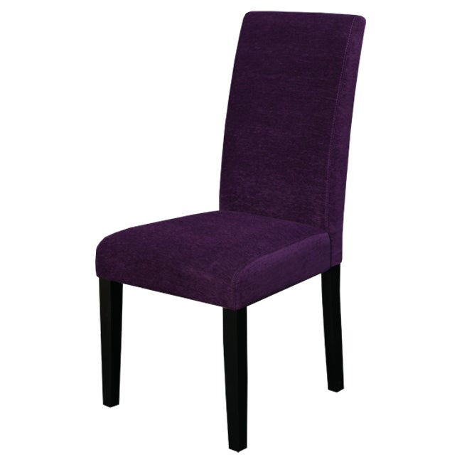 Aprilia Eggplant Upholstered Dining Chairs Set Of 2 Overstock Shopping