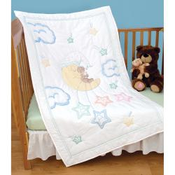 """Stamped White Quilt Crib Top 40""""X60""""-Bear On The Moon"""