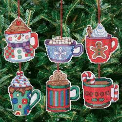 Cocoa Mug Ornaments Counted Cross Stitch Kit-3-1/2