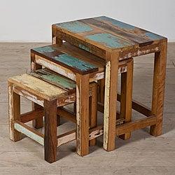 Set of Three Halebid Stripped Reclaimed-wood Nesting Tables (India)