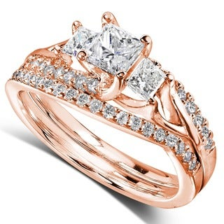 Annello 14k Gold 1-1/10ct TDW Diamond Bridal Rings Set (H-I, I1-I2)