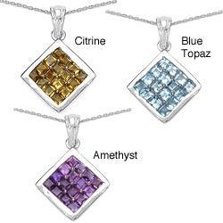 Malaika Sterling Silver 2.40ct Gemstone Pendant