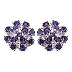 Malaika Sterling Silver 4 3/5ct TGW Amethyst Earrings
