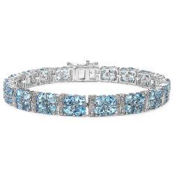 Malaika Sterling Silver 20ct TGW Blue and White Topaz Bracelet