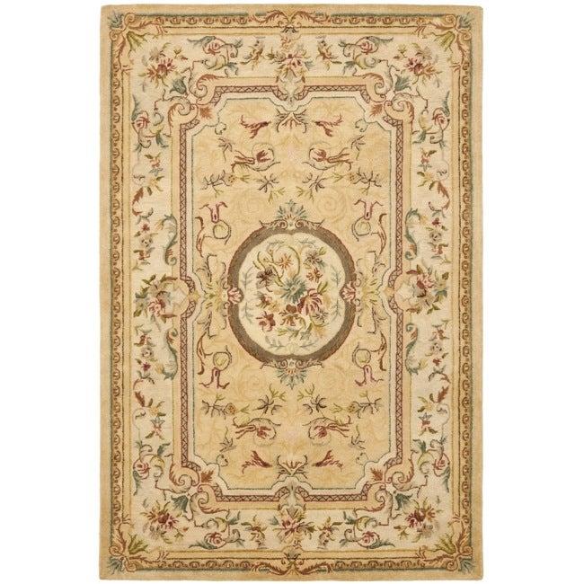 Safavieh Handmade Light Gold/ Beige Hand-spun Wool Rug (8' x 10')