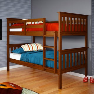 Donco kids twin twin espresso finish mission bunk bed for Beds for 13 year olds