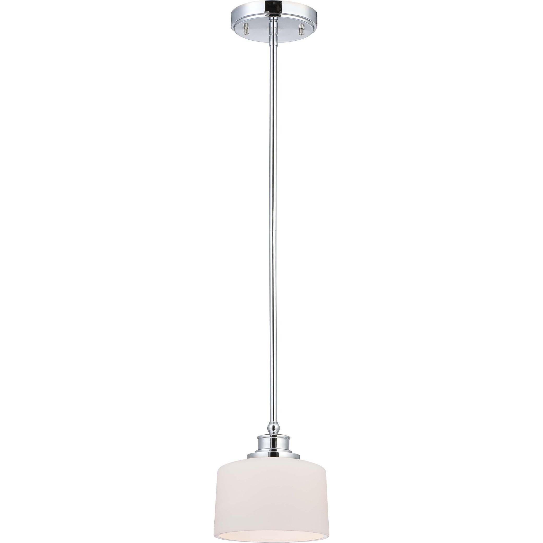 Soho 1 Light Polished Chrome With Satin White Glass Mini Pendant