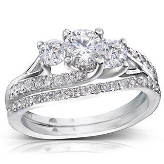 Annello 14k Gold 1 1/10ct TDW Diamond Bridal Rings Set (H-I, I1-I2)