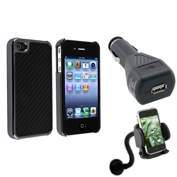 Black with Silver Case/ Charger/ Phone Holder for Apple iPhone 4/ 4S