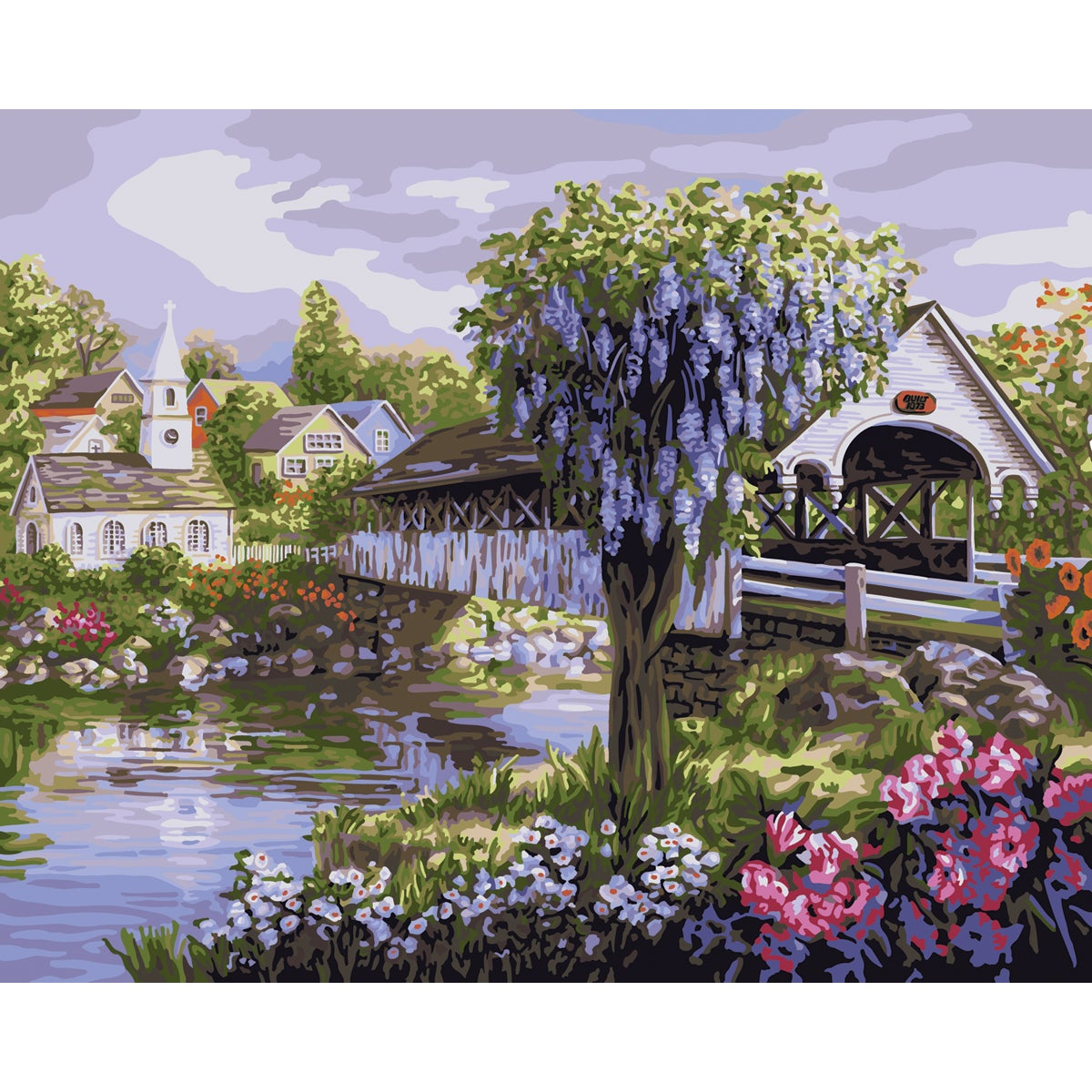 """Paint By Number Kit 16""""X20""""-View Of The Village"""