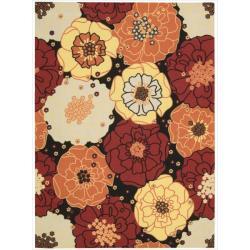 Nourison Home and Garden Black Floral Indoor/Outdoor Rug (7'9 x 10'10)