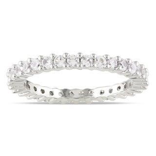 Miadora 10k White Gold 1 1/3ct TGW Created White Sapphire Eternity Ring