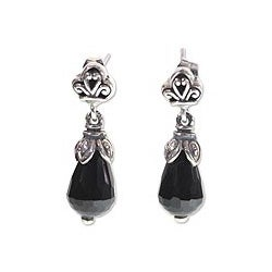 Sterling Silver 'Floral Celebration' Onyx Earrings (Indonesia)