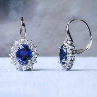 Miadora Silver Created Blue and White Sapphire Diamond Accent Earrings