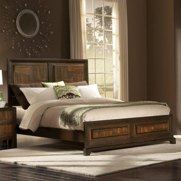 Birken Asymmetric Walnut Retro Modern Queen-size Low Profile Bed
