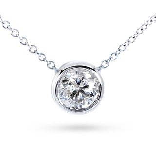 Annello 14k Gold 1/3ct TDW Bezel Diamond Solitaire Necklace