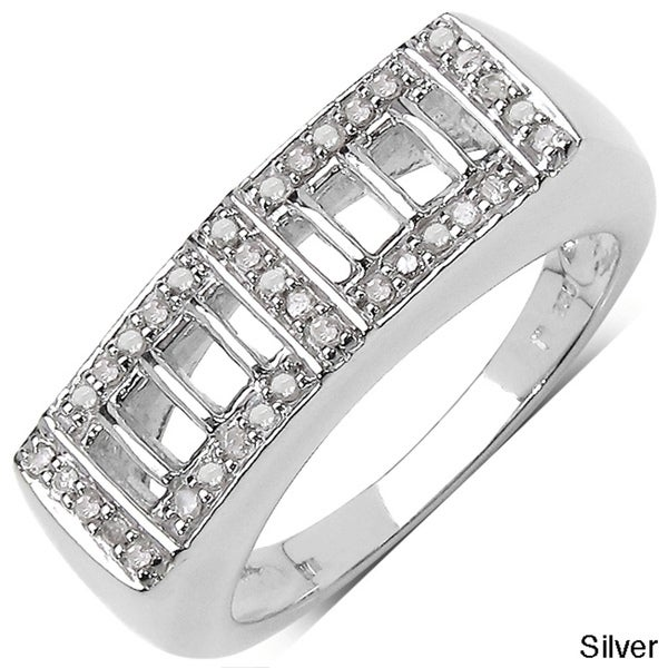 Malaika Sterling Silver Men's 1/5ct TDW Diamond Ring (I-J, I3)